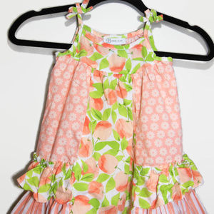 Bonnie Jean 2T Girls Apple Peach Ruffle Sundress